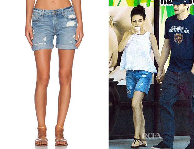 Mila Kunis' Frame Denim 'Le Grand Garcon' Shorts