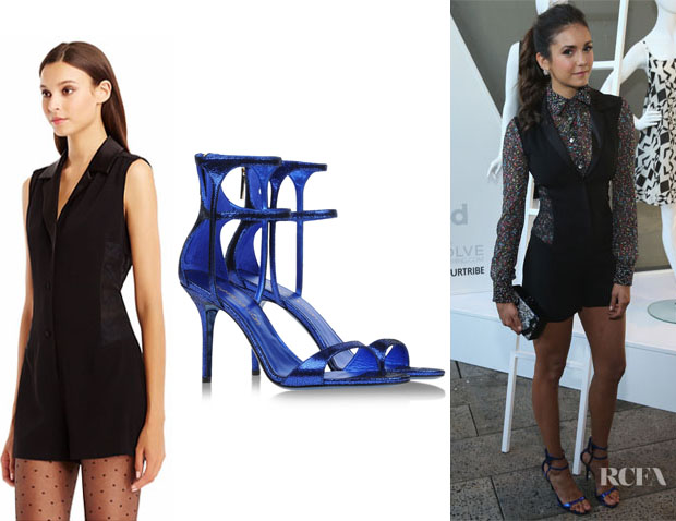 Nina Dobrev's Diane von Furstenberg Seduction Lace Panel Tuxedo Crepe Romper And Tamara Mellon Glow Metallic Cracked-Suede Sandals
