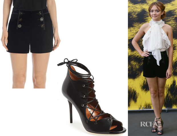 Olivia Cooke's Emilio Pucci Velvet Button-Front Shorts And Malone Souliers 'Savannah' Lace-Up Peep Toe Booties