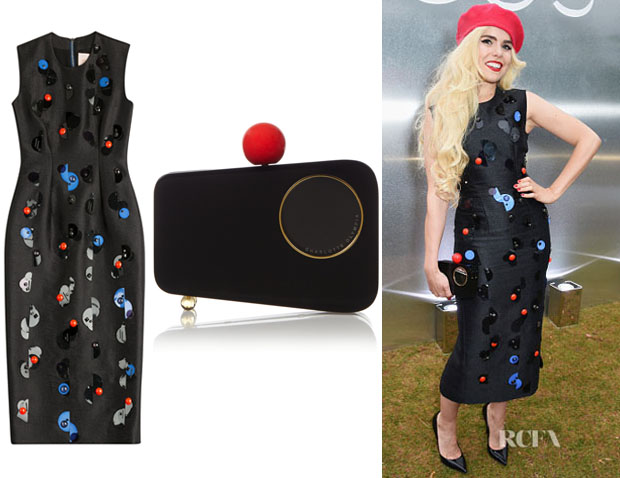 embellished dress and Charlotte Olympia 'Mobile' perspex clutch ...