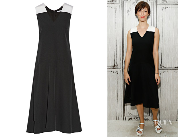 Rebecca Hall's Tome Silk Faille-Trimmed Crepe Midi Dress
