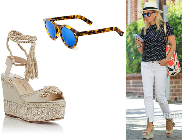 Reese Witherspoon's Illesteva 'Leonard' Mirrored Sunglasses And Paul Andrew 'Patmos' Wedge Espadrilles