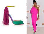 Regina King's Christian Louboutin 'Otrot' Fringed Color-Block Suede Sandals