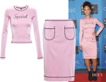 Rihanna In Adam Selman Spoiled Top & Exposed Pocket Skirt
