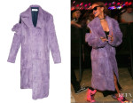 Rihanna's Marques'Almeida Asymmetric Deconstructed-Sleeve Fur Coat