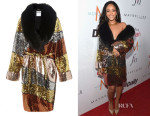 Rihanna's Moschino Colour Block Sequinned Coat With Fur Collar