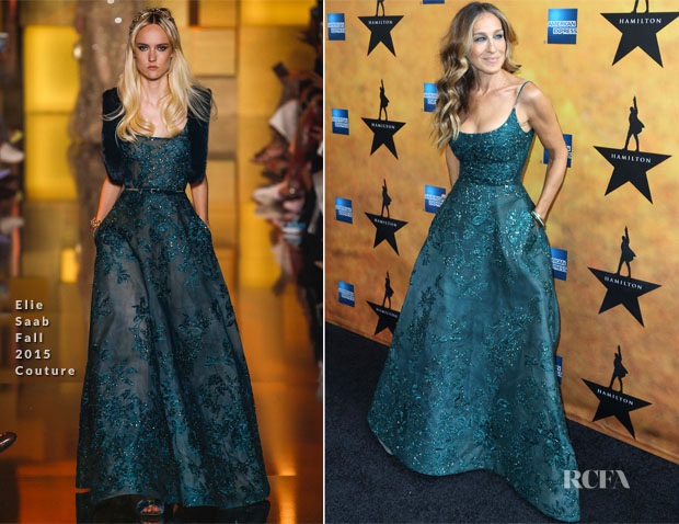 a2f5a863887 Sarah Jessica Parker In Elie Saab Couture -  Hamilton  Broadway Opening  Night