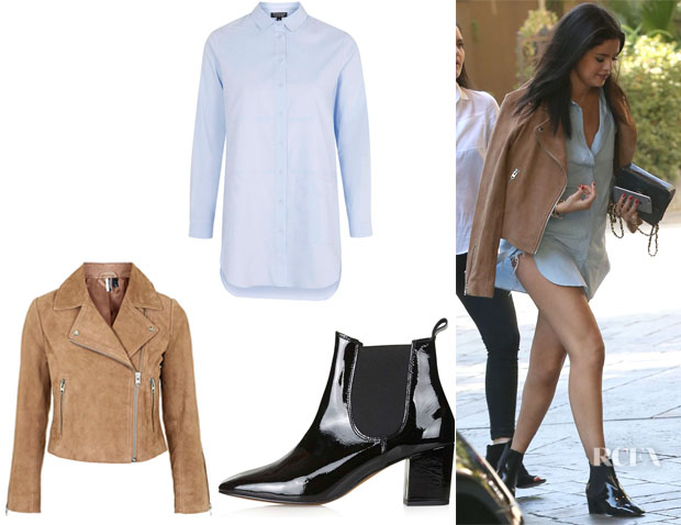 Selena Gomez' Topshop Suede Biker Jacket,Topshop Oversized Pocket Shirt And Topshop 'Mary '60s' Patent Chelsea Boots