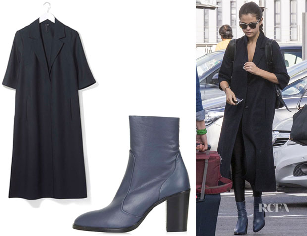 Selena Gomez' Topshop Tailored Duster Coat by Boutique And Topshop 'Magnificent' Sock Boots