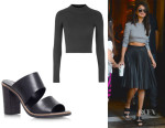Selena Gomez' Topshop Wool Mix Rib Funnel Sweater And Kurt Geiger 'Krow' Heeled Mule