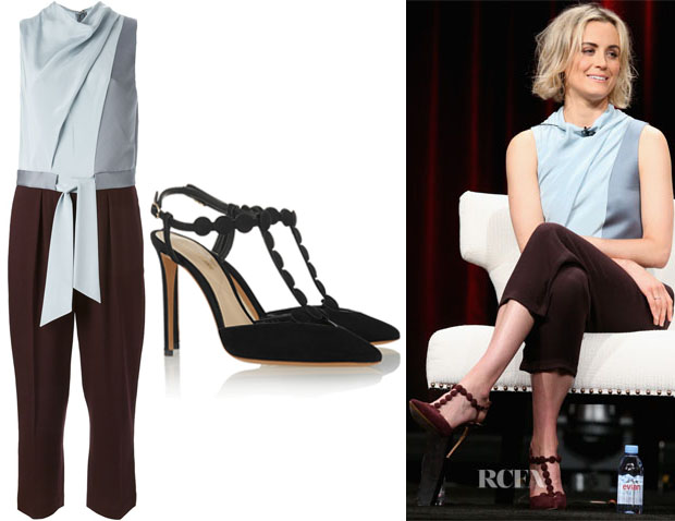 Taylor Schilling's 3.1 Phillip Lim Draped Jumpsuit And Nicholas Kirkwood 'Quantum' Suede Pumps