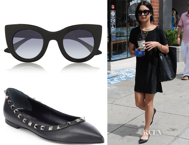 Vanessa Hudgens' Thierry Lasry's Oversized cat-eye acetate sunglasses & Valentino Noir Rockstud Leather Ballet Flats
