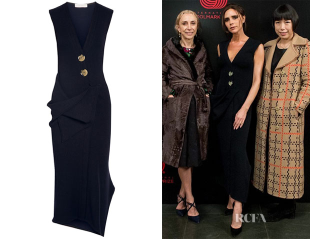 Victoria Beckham's Victoria Beckham Draped Stretch Wool-Blend Midi Dress