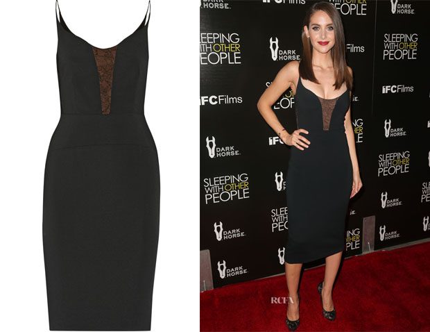 Alison Brie's Narciso Rodriguez Lace-paneled stretch-crepe dress