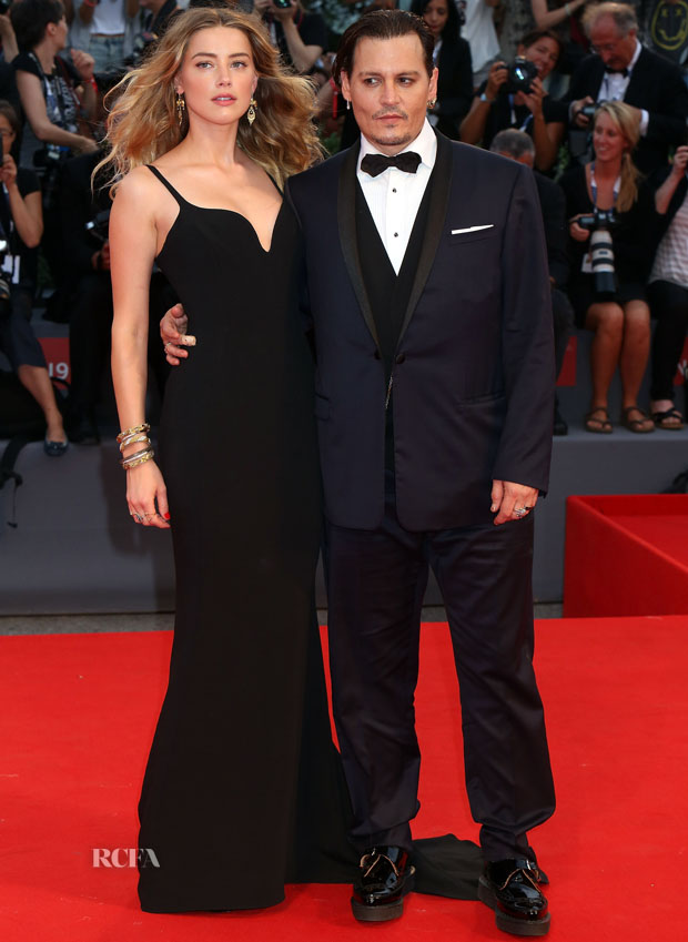 Amber Heard In Stella McCartney & Johnny Depp In Dior Homme - 'Black Mass' Venice Film Festival Premiere