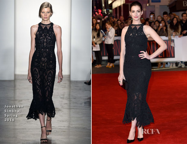 Anne Hathaway In Jonathan Simkhai - 'Th Intern' London Premiere