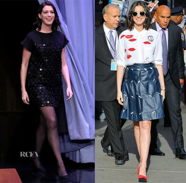 Anne Hathaway In Saint Laurent, Equipment & Osman - 'The Intern' Promo Tour