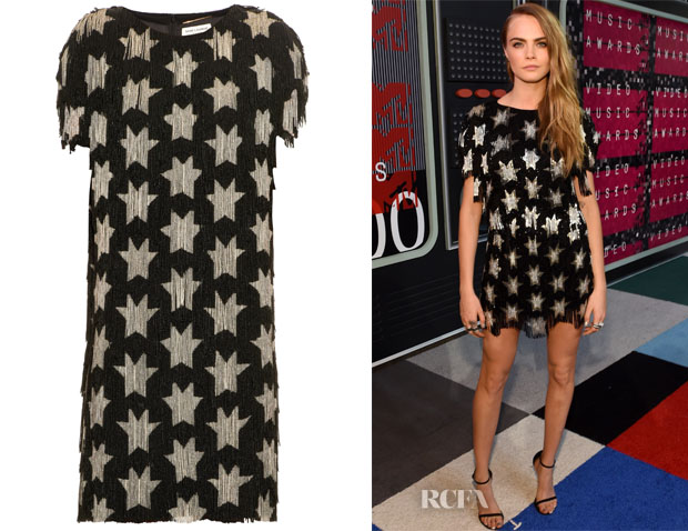 Cara Delevingne's Saint Laurent Star beaded-fringe dress