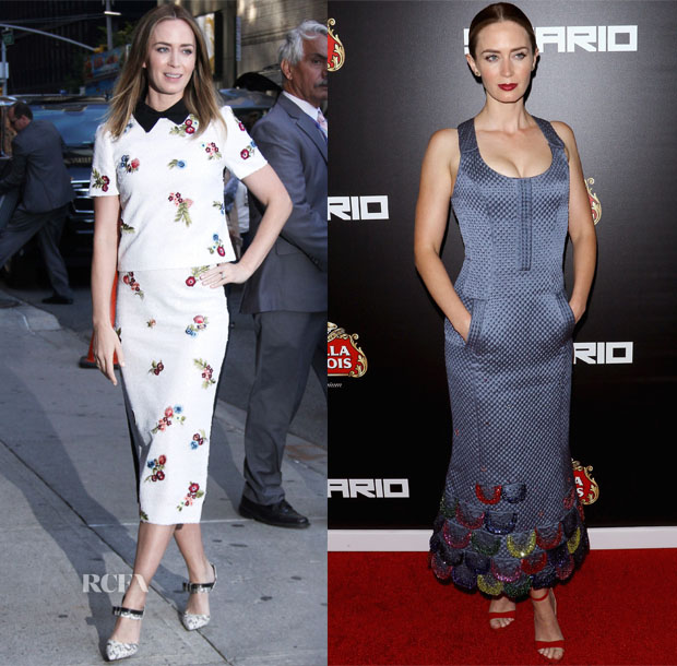 Emily Blunt In Erdem & Ulyana Sergeenko Couture - 'The Late Show with Stephen Colbert' & 'Sicario' New York Premiere