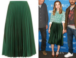 Emily Browning's Topshop Satin Pleated Midi Skirt