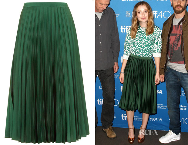 Emily Browning's Topshop Satin Pleated Mini Skirt