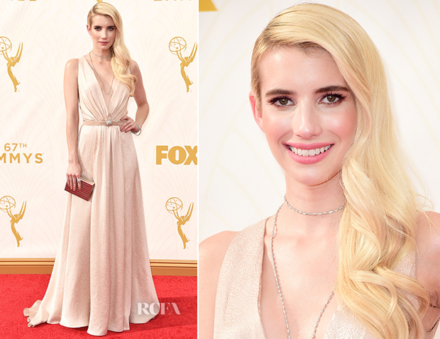 Emma Roberts In Jenny Packham - 2015 Emmy Awards
