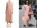 Emmy Rossum's Tibi Heavy Silk Pleated Midi Dress