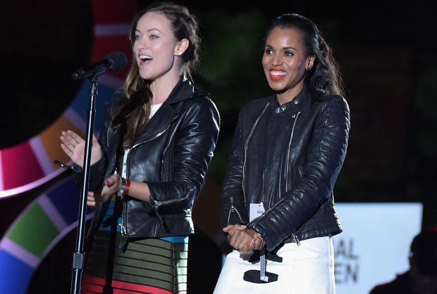 NEW YORK, NY - SEPTEMBER 26:  Actors Olivia Wilde (L) and Kerry Washington speak on stage at the 2015 Global Citizen Festival to end extreme poverty by 2030 in Central Park on September 26, 2015 in New York City.  (Photo by Theo Wargo/Getty Images for Global Citizen)