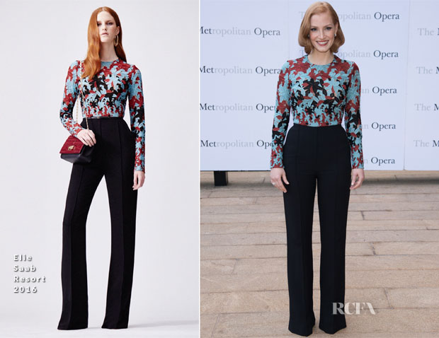 Jessica Chastain In Elie Saab - Metropolitan Opera 2015-2016 Season Opening Night - 'Otello'