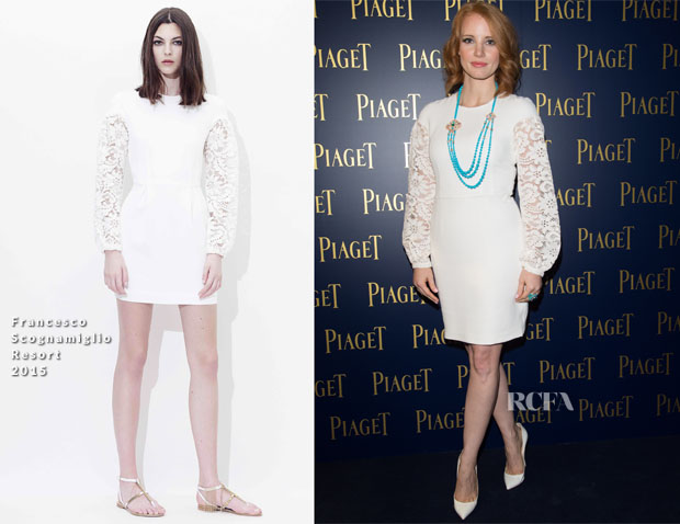 Jessica Chastain In Francesco Scognamiglio - PIAGET Opening Milan