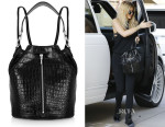 Kylie Jenner's  Elizabeth and James Cynnie Sling Convertible Croc-Effect Leather Backpack