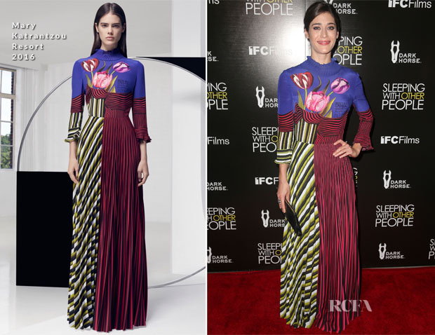 Lizzy Caplan In Mary Katrantzou - 'Sleeping With Other People' LA Premiere