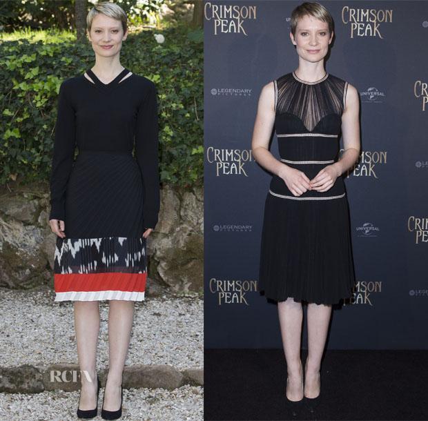 Mia Wasikowska In Altuzarra & Alexander McQueen - 'Crimson Peak' Rome Photocall & Paris Premiere