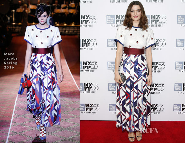 Rachel Weisz In Marc Jacobs -  'Lobster' New York Film Festival Premiere