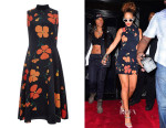 Rihanna's Rodarte Printed Poppy Wool Blend Sleeveless Dress