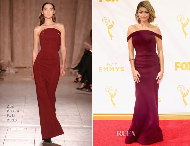 Sarah Hyland In Zac Posen - 2015 Emmy Awards