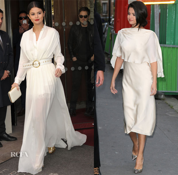 Selena Gomez In Elie Saab & Sybilla - Out In Paris