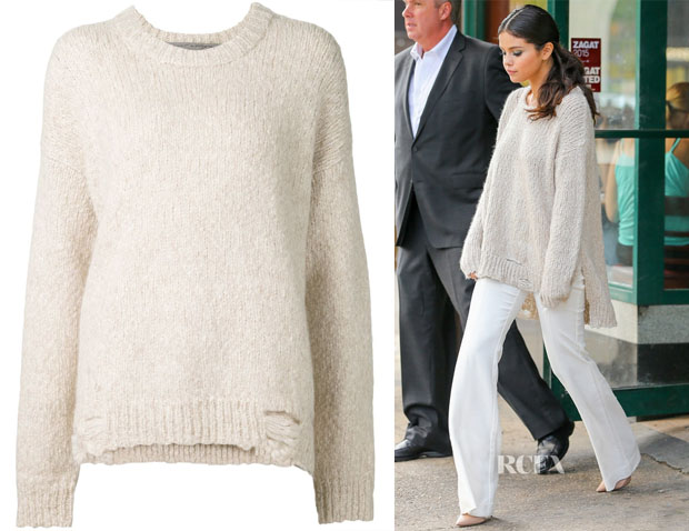 Selena Gomez' Raquel Allegra Distressed Oversized Sweater