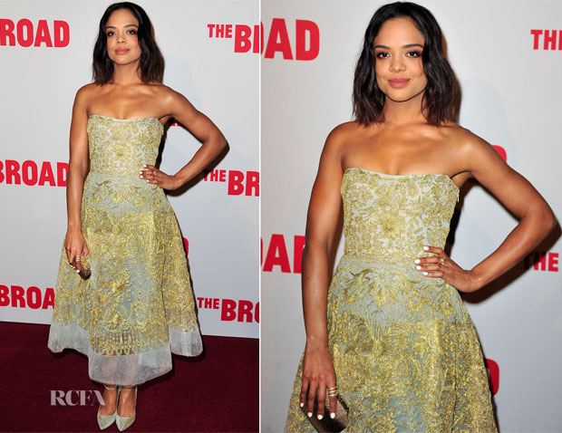 Tessa Thompson In Reem Acra - The Broad Museum Black Tie Inaugural Dinner