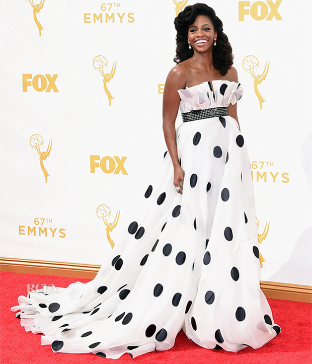 LOS ANGELES, CA - SEPTEMBER 20: Actress Teyonah Parris attends the 67th Annual Primetime Emmy Awards at Microsoft Theater on September 20, 2015 in Los Angeles, California. (Photo by Jason Merritt/Getty Images)
