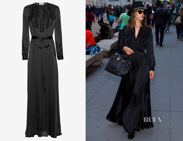 Alessandra Ambrosio's L'Agence Lorena Ruffle Front Gown