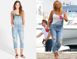 Beyonce Knowles' Paige Denim 'Sierra' Cuffed Overalls