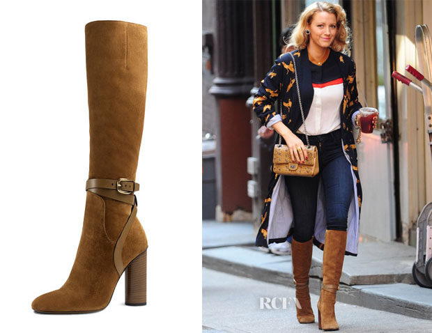 Blake Lively's Gucci New Marron Suede Knee-High Boot