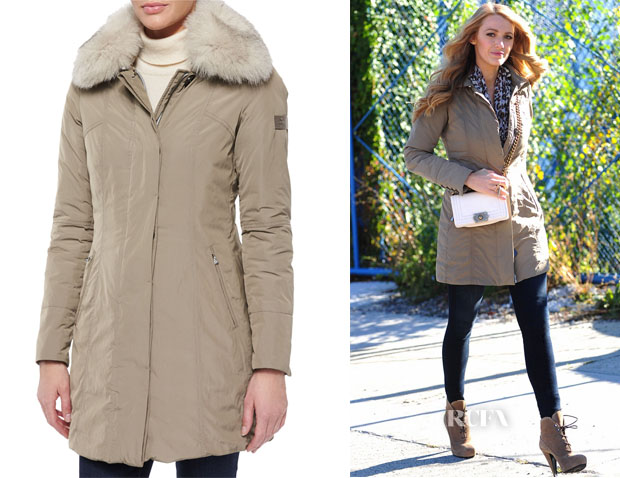 Blake Lively's Peuterey Metropolitan Fitted Fur-Collar Parka