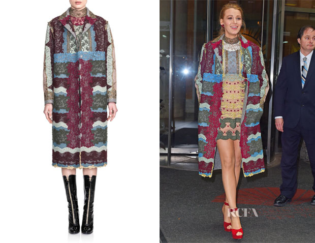 Blake Lively's Valentino Lace Collage Coat