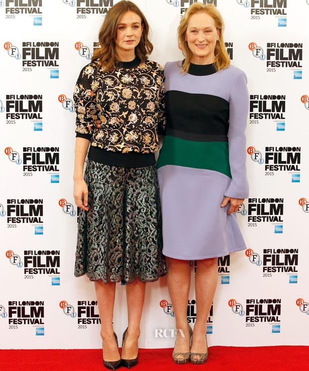 "LONDON, ENGLAND - OCTOBER 07:  Actresses Carey Mulligan and Meryl Streep attend the ""Suffragette"" photocall during the BFI London Film Festival at The Lanesborough Hotel on October 7, 2015 in London, England.  (Photo by John Phillips/Getty Images for BFI)"