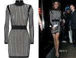 Cheryl Fernandez-Versini's Balmain Striped stretch-knit mini dress