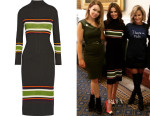 Cheryl Fernandez-Versini's Suno Striped wool-blend turtleneck midi dress