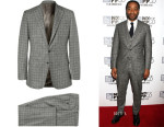 Chiwetel Ejiofor's Thom Sweeney's Grey Slim-Fit Prince of Wales Check Wool Three-Piece Suit