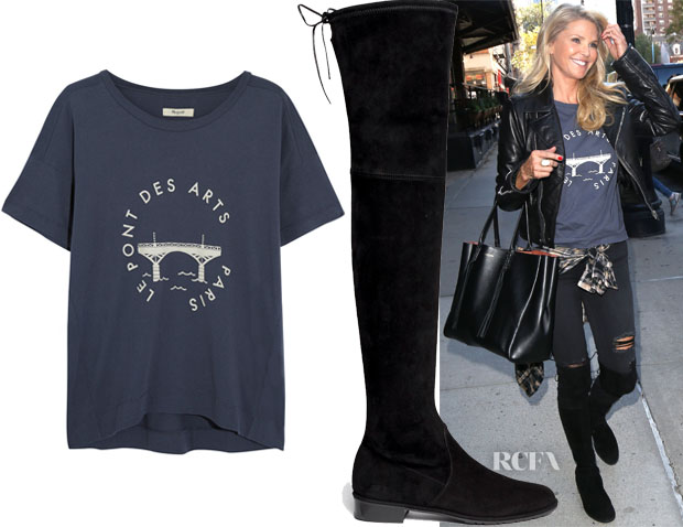 Christie Brinkley's Madewell Printed T-Shirt & Stuart Weitzman Lowland Suede Boots